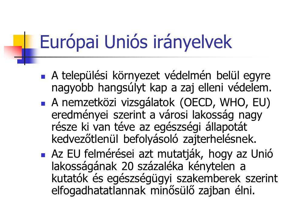 Európai Uniós irányelvek A települési környezet védelmén belül egyre nagyobb hangsúlyt kap a zaj elleni védelem.