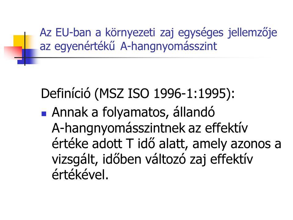Az EU-ban a környezeti zaj egységes jellemzője az egyenértékű A-hangnyomásszint Definíció (MSZ ISO 1996-1:1995): Annak a folyamatos, állandó A-hangnyomásszintnek az effektív értéke adott T idő alatt, amely azonos a vizsgált, időben változó zaj effektív értékével.