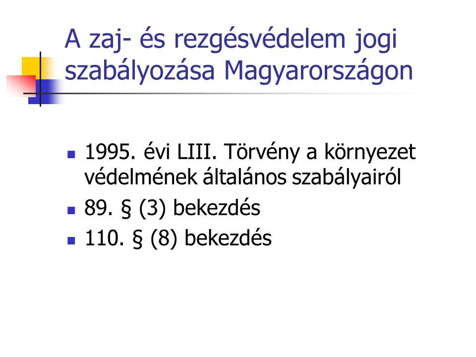 A zaj- és rezgésvédelem jogi szabályozása Magyarországon 1995.
