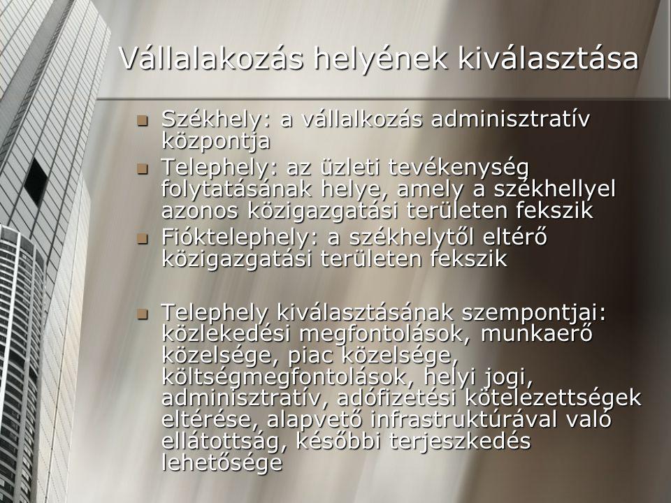 Vállalakozás helyének kiválasztása Székhely: a vállalkozás adminisztratív központja Székhely: a vállalkozás adminisztratív központja Telephely: az üzl