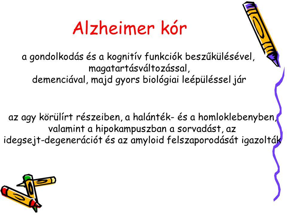 Alzheimer kór a gondolkodás és a kognitív funkciók beszűkülésével, magatartásváltozással, demenciával, majd gyors biológiai leépüléssel jár az agy körülírt részeiben, a halánték- és a homloklebenyben, valamint a hipokampuszban a sorvadást, az idegsejt-degenerációt és az amyloid felszaporodását igazolták