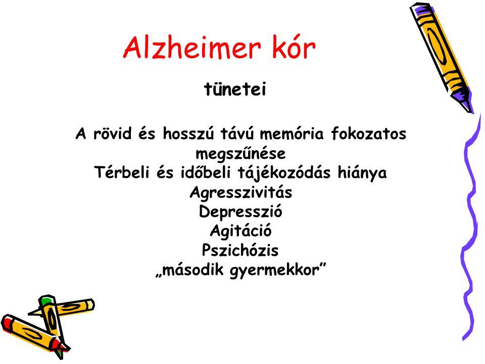 """Alzheimer kór tünetei A rövid és hosszú távú memória fokozatos megszűnése Térbeli és időbeli tájékozódás hiánya Agresszivitás Depresszió Agitáció Pszichózis """"második gyermekkor"""