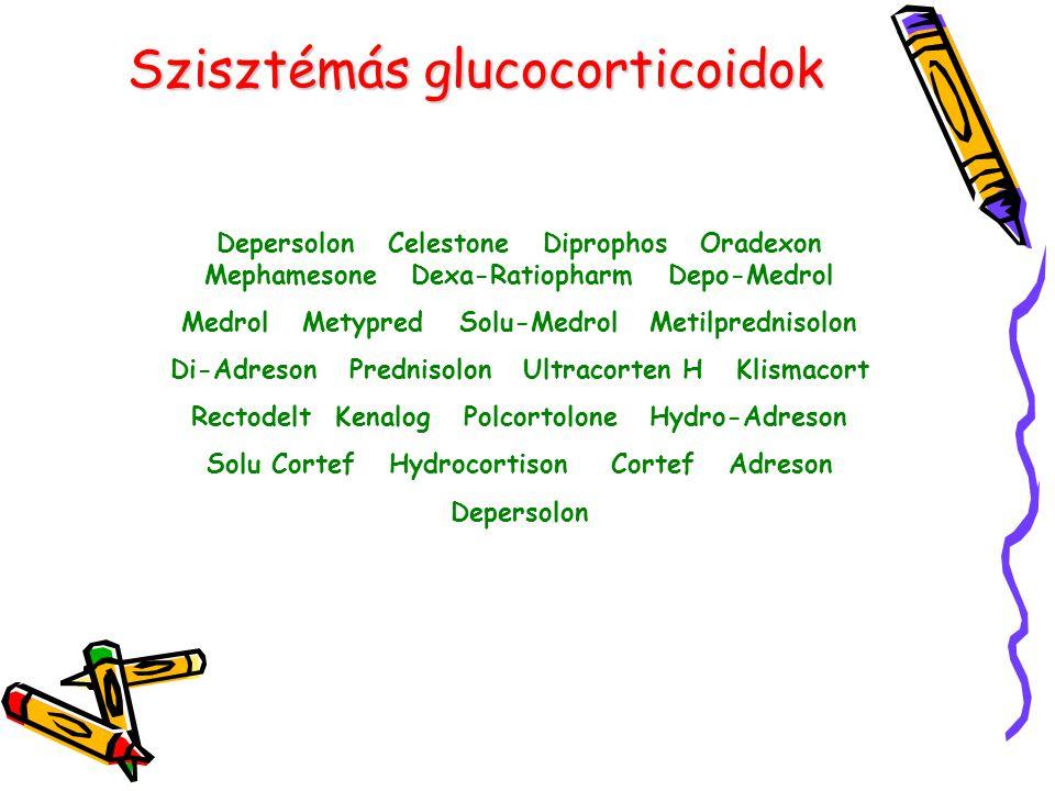 Szisztémás glucocorticoidok Depersolon Celestone Diprophos Oradexon Mephamesone Dexa-Ratiopharm Depo-Medrol Medrol Metypred Solu-Medrol Metilprednisol