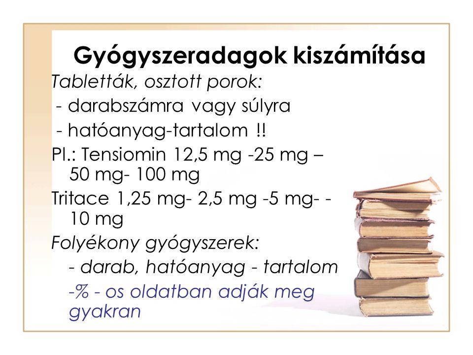 Gyógyszeradagok kiszámítása Tabletták, osztott porok: - darabszámra vagy súlyra - hatóanyag-tartalom !! Pl.: Tensiomin 12,5 mg -25 mg – 50 mg- 100 mg
