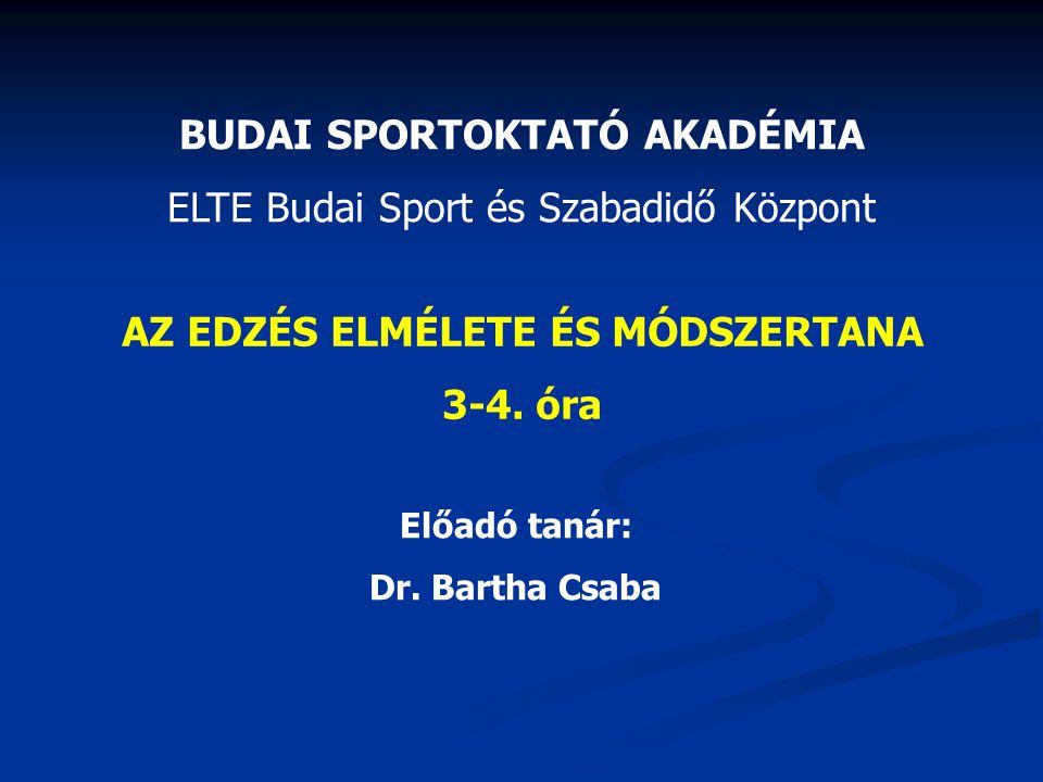 BUDAI SPORTOKTATÓ AKADÉMIA ELTE Budai Sport és Szabadidő Központ AZ EDZÉS ELMÉLETE ÉS MÓDSZERTANA 3-4. óra Előadó tanár: Dr. Bartha Csaba