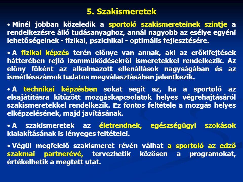 5. Szakismeretek Minél jobban közeledik a sportoló szakismereteinek szintje a rendelkezésre álló tudásanyaghoz, annál nagyobb az esélye egyéni lehetős