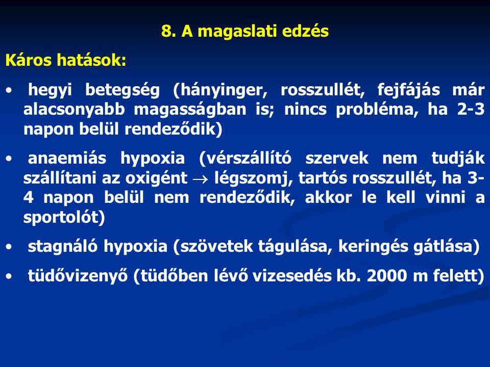 8. A magaslati edzés Káros hatások: hegyi betegség (hányinger, rosszullét, fejfájás már alacsonyabb magasságban is; nincs probléma, ha 2-3 napon belül