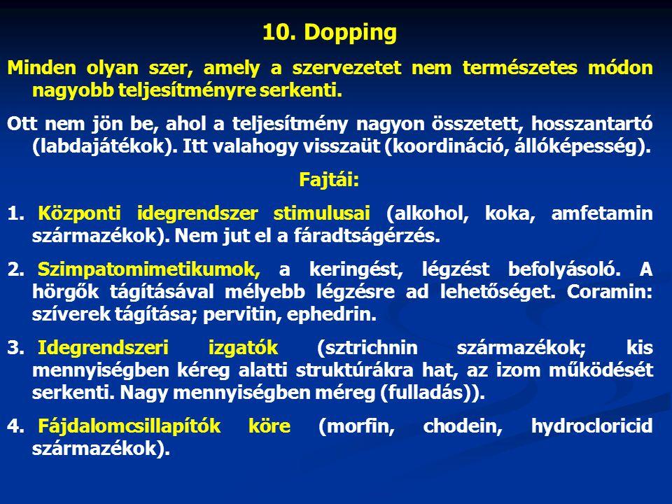 10. Dopping Minden olyan szer, amely a szervezetet nem természetes módon nagyobb teljesítményre serkenti. Ott nem jön be, ahol a teljesítmény nagyon ö