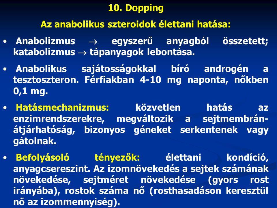 10. Dopping Az anabolikus szteroidok élettani hatása: Anabolizmus  egyszerű anyagból összetett; katabolizmus  tápanyagok lebontása. Anabolikus saját