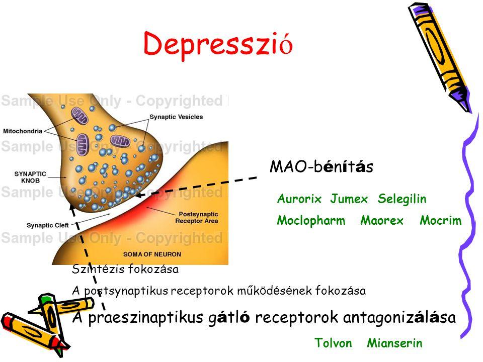 Depresszi ó MAO-b é n í t á s Aurorix Jumex Selegilin Moclopharm Maorex Mocrim Szint é zis fokoz á sa A postsynaptikus receptorok műk ö d é s é nek fo