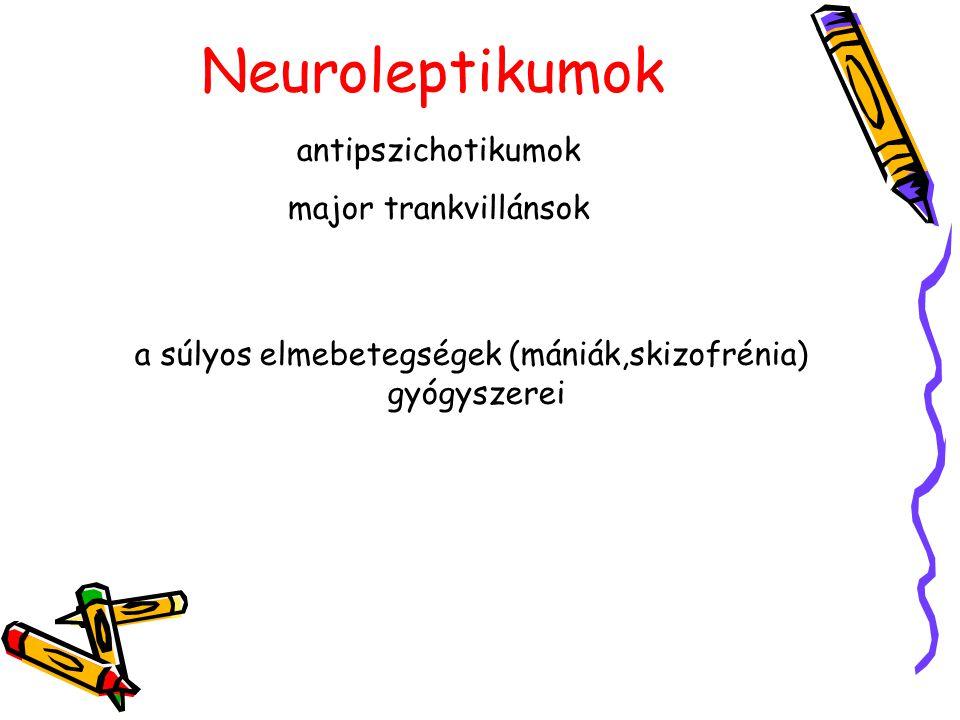 Skizofrénia-tünetek Pozitív tünetek: téveszmék (üldöztetéses, vonatkoztatásos, nagyzásos, irányításos) hallucinációk összefüggéstelen gondolkodás és beszéd inadekvát érzelmek Negatív tünetek a beszéd szegényessége érzelmi sivárság külvilággal való kapcsolat zavara Pszichomotoros tünetek katatónia dopaminerg rendszer túlműködése sejtpusztulás