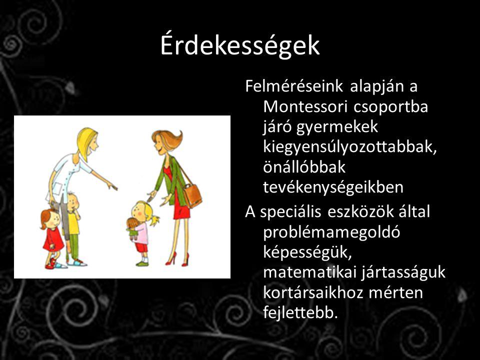 Érdekességek Felméréseink alapján a Montessori csoportba járó gyermekek kiegyensúlyozottabbak, önállóbbak tevékenységeikben A speciális eszközök által