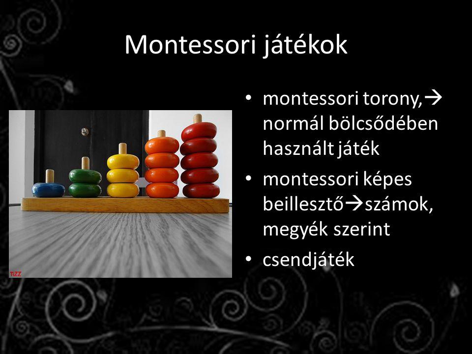 Montessori játékok montessori torony,  normál bölcsődében használt játék montessori képes beillesztő  számok, megyék szerint csendjáték