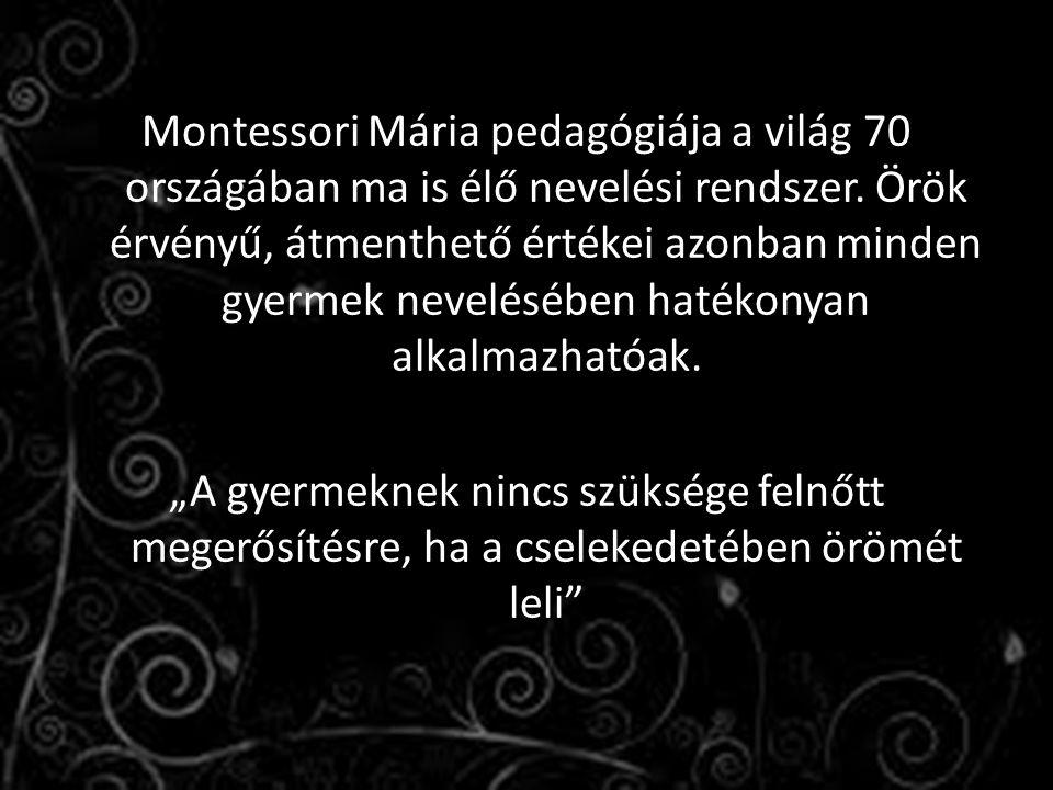 Montessori Mária pedagógiája a világ 70 országában ma is élő nevelési rendszer. Örök érvényű, átmenthető értékei azonban minden gyermek nevelésében ha