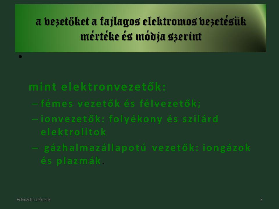 mint elektronvezetők: – fémes vezetők és félvezetők; – ionvezetők: folyékony és szilárd elektrolitok – gázhalmazállapotú vezetők: iongázok és plazmák.
