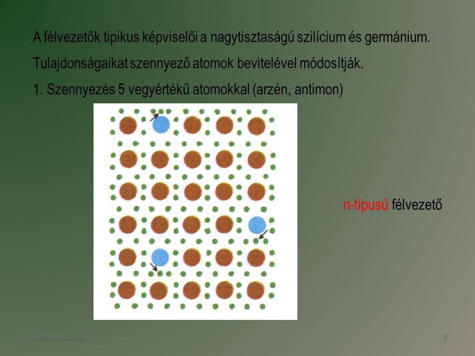 Félvezető eszközök5 A félvezetők tipikus képviselői a nagytisztaságú szilícium és germánium. n-típusú félvezető Tulajdonságaikat szennyező atomok bevi