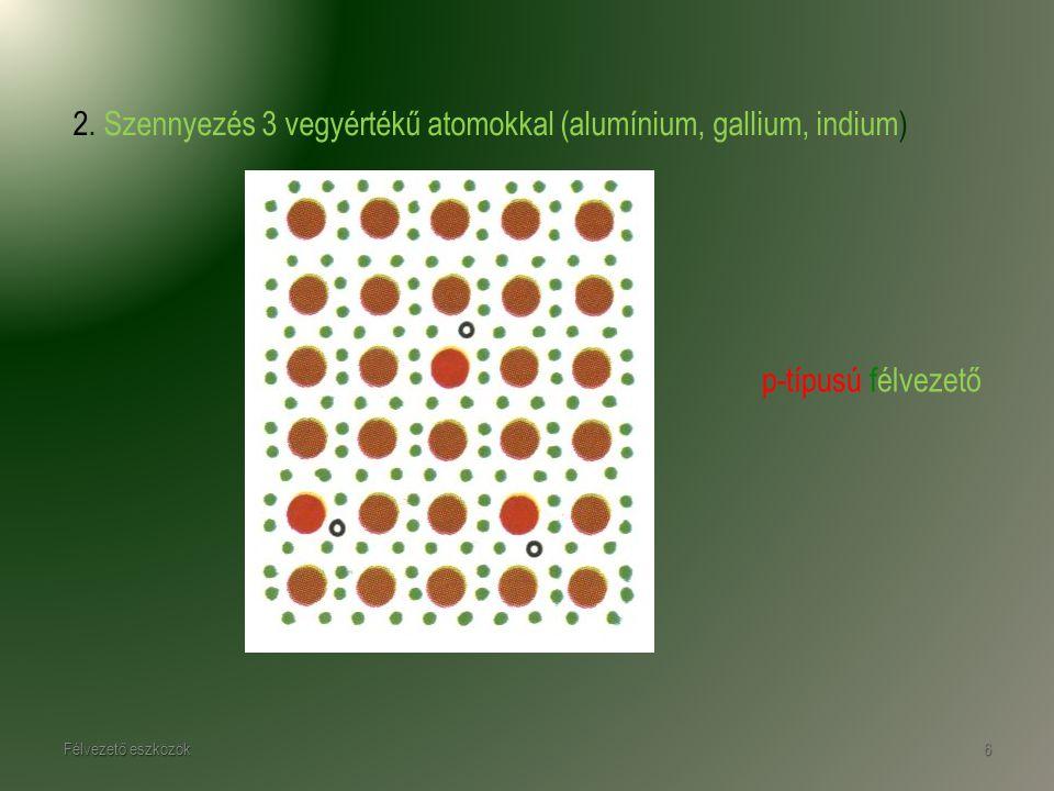 Félvezető eszközök6 p-típusú félvezető 2. Szennyezés 3 vegyértékű atomokkal (alumínium, gallium, indium)