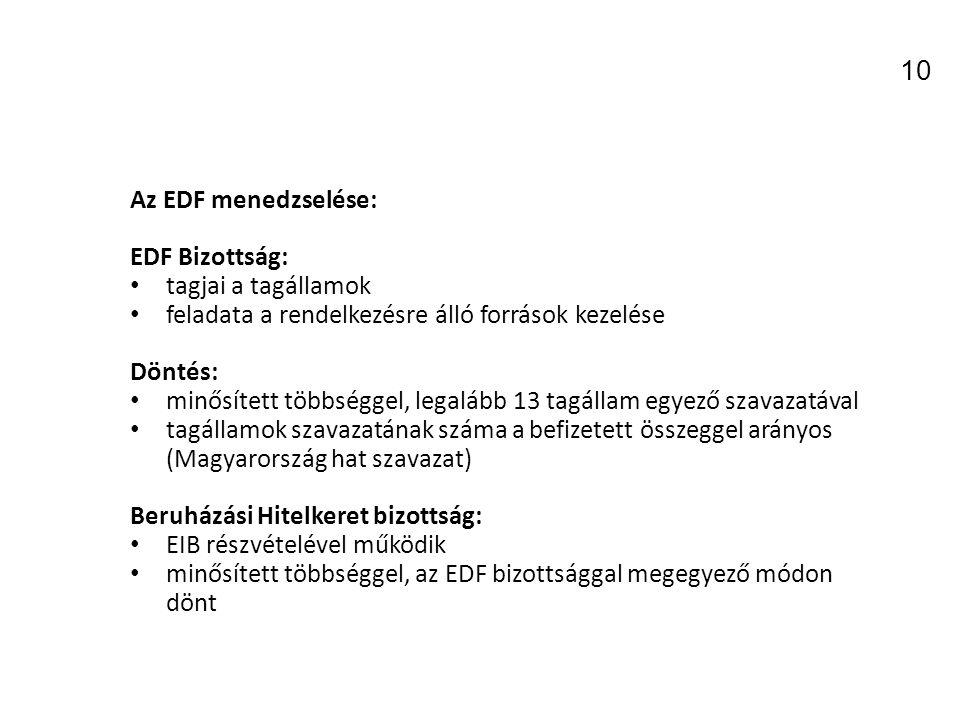 Az EDF menedzselése: EDF Bizottság: tagjai a tagállamok feladata a rendelkezésre álló források kezelése Döntés: minősített többséggel, legalább 13 tagállam egyező szavazatával tagállamok szavazatának száma a befizetett összeggel arányos (Magyarország hat szavazat) Beruházási Hitelkeret bizottság: EIB részvételével működik minősített többséggel, az EDF bizottsággal megegyező módon dönt 10