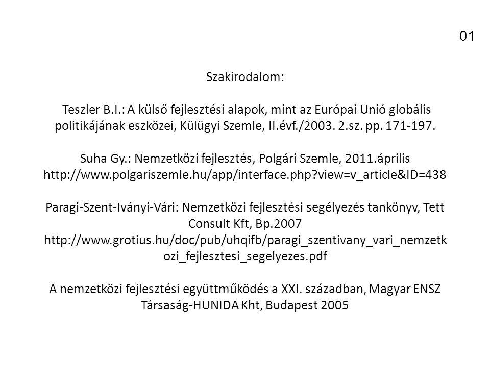 Szakirodalom: Teszler B.I.: A külső fejlesztési alapok, mint az Európai Unió globális politikájának eszközei, Külügyi Szemle, II.évf./2003.