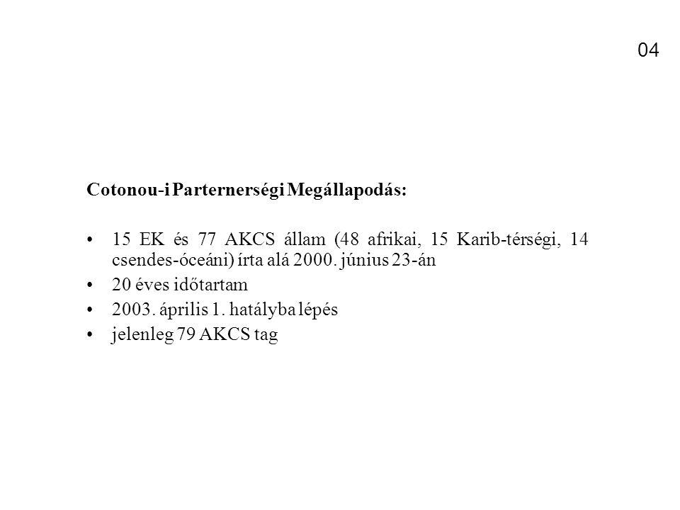 Cotonou-i Parternerségi Megállapodás: 15 EK és 77 AKCS állam (48 afrikai, 15 Karib-térségi, 14 csendes-óceáni) írta alá 2000.