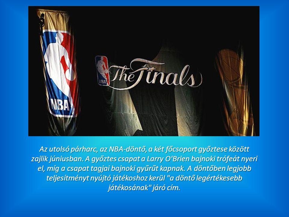 Az utolsó párharc, az NBA-döntő, a két főcsoport győztese között zajlik júniusban. A győztes csapat a Larry O'Brien bajnoki trófeát nyeri el, míg a cs