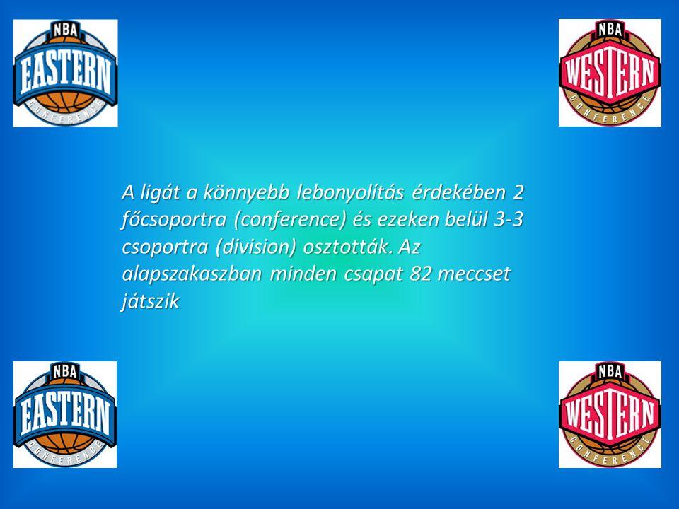 A ligát a könnyebb lebonyolítás érdekében 2 főcsoportra (conference) és ezeken belül 3-3 csoportra (division) osztották. Az alapszakaszban minden csap
