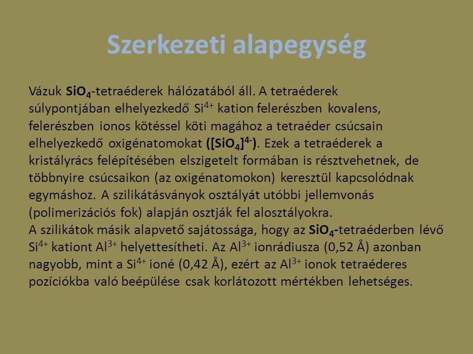 Csoportosítás Nezoszilikátok Szoroszilikátok Gyűrűszilikátok Láncszilikátok Rétegszilikátok Tektoszilikátok