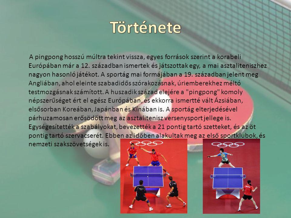 A pingpong hosszú múltra tekint vissza, egyes források szerint a korabeli Európában már a 12. században ismertek és játszottak egy, a mai asztalitenis