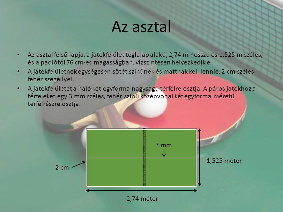 Az asztal Az asztal felső lapja, a játékfelület téglalap alakú, 2,74 m hosszú és 1,525 m széles, és a padlótól 76 cm-es magasságban, vízszintesen hely