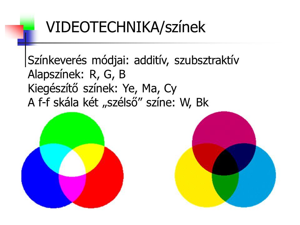 """VIDEOTECHNIKA/színek Színkeverés módjai: additív, szubsztraktív Alapszínek: R, G, B Kiegészítő színek: Ye, Ma, Cy A f-f skála két """"szélső színe: W, Bk"""