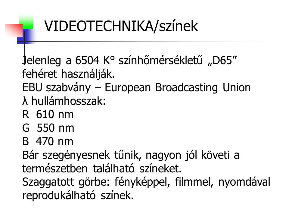 """VIDEOTECHNIKA/színek Jelenleg a 6504 K° színhőmérsékletű """"D65"""" fehéret használják. EBU szabvány – European Broadcasting Union λ hullámhosszak: R 610 n"""