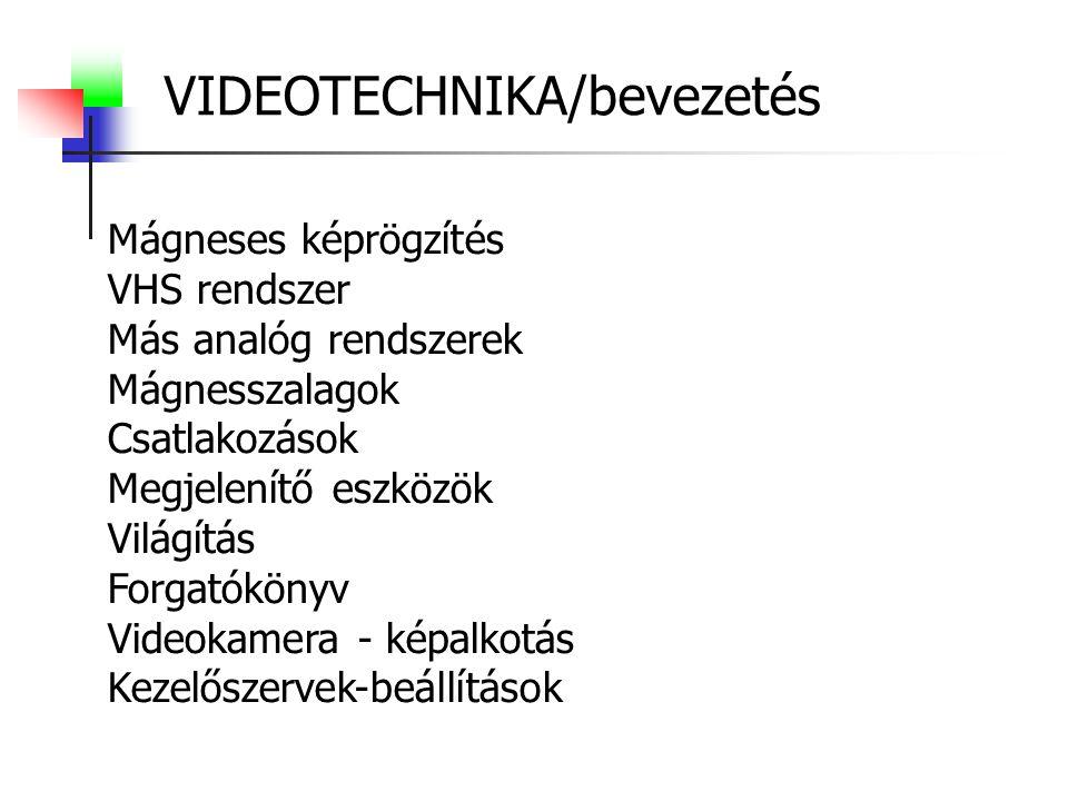 VIDEOTECHNIKA/bevezetés Mágneses képrögzítés VHS rendszer Más analóg rendszerek Mágnesszalagok Csatlakozások Megjelenítő eszközök Világítás Forgatókönyv Videokamera - képalkotás Kezelőszervek-beállítások
