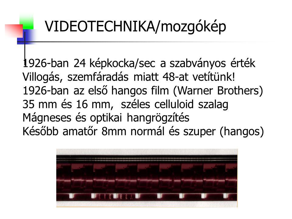 VIDEOTECHNIKA/mozgókép 1926-ban 24 képkocka/sec a szabványos érték Villogás, szemfáradás miatt 48-at vetítünk! 1926-ban az első hangos film (Warner Br