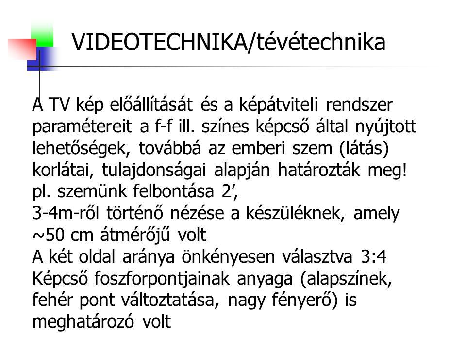VIDEOTECHNIKA/tévétechnika A TV kép előállítását és a képátviteli rendszer paramétereit a f-f ill. színes képcső által nyújtott lehetőségek, továbbá a