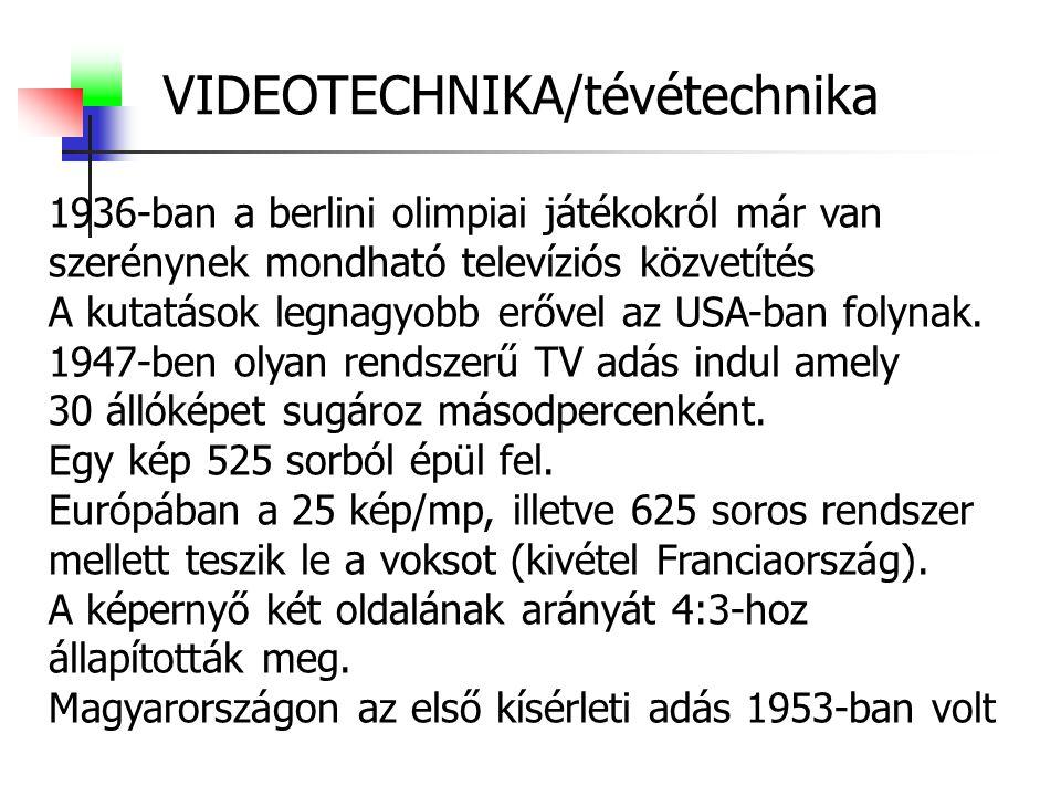 VIDEOTECHNIKA/tévétechnika 1936-ban a berlini olimpiai játékokról már van szerénynek mondható televíziós közvetítés A kutatások legnagyobb erővel az USA-ban folynak.