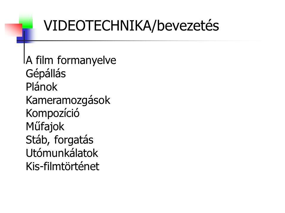 VIDEOTECHNIKA/bevezetés A film formanyelve Gépállás Plánok Kameramozgások Kompozíció Műfajok Stáb, forgatás Utómunkálatok Kis-filmtörténet