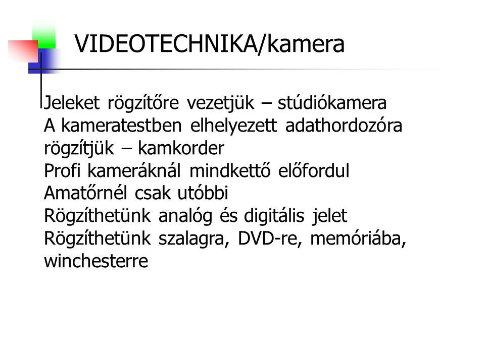 VIDEOTECHNIKA/kamera Jeleket rögzítőre vezetjük – stúdiókamera A kameratestben elhelyezett adathordozóra rögzítjük – kamkorder Profi kameráknál mindkettő előfordul Amatőrnél csak utóbbi Rögzíthetünk analóg és digitális jelet Rögzíthetünk szalagra, DVD-re, memóriába, winchesterre