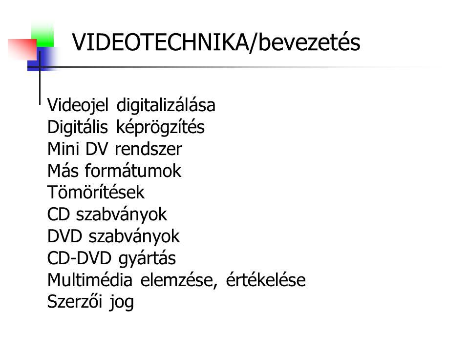 VIDEOTECHNIKA/bevezetés Videojel digitalizálása Digitális képrögzítés Mini DV rendszer Más formátumok Tömörítések CD szabványok DVD szabványok CD-DVD gyártás Multimédia elemzése, értékelése Szerzői jog