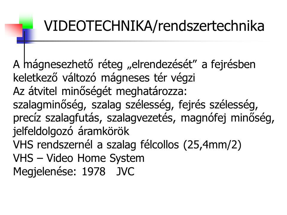 """VIDEOTECHNIKA/rendszertechnika A mágnesezhető réteg """"elrendezését a fejrésben keletkező változó mágneses tér végzi Az átvitel minőségét meghatározza: szalagminőség, szalag szélesség, fejrés szélesség, precíz szalagfutás, szalagvezetés, magnófej minőség, jelfeldolgozó áramkörök VHS rendszernél a szalag félcollos (25,4mm/2) VHS – Video Home System Megjelenése: 1978 JVC"""