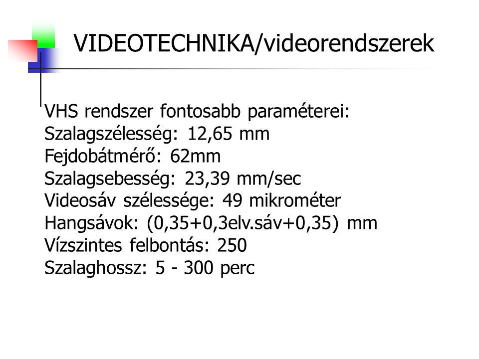 VIDEOTECHNIKA/videorendszerek VHS rendszer fontosabb paraméterei: Szalagszélesség: 12,65 mm Fejdobátmérő: 62mm Szalagsebesség: 23,39 mm/sec Videosáv szélessége: 49 mikrométer Hangsávok: (0,35+0,3elv.sáv+0,35) mm Vízszintes felbontás: 250 Szalaghossz: 5 - 300 perc