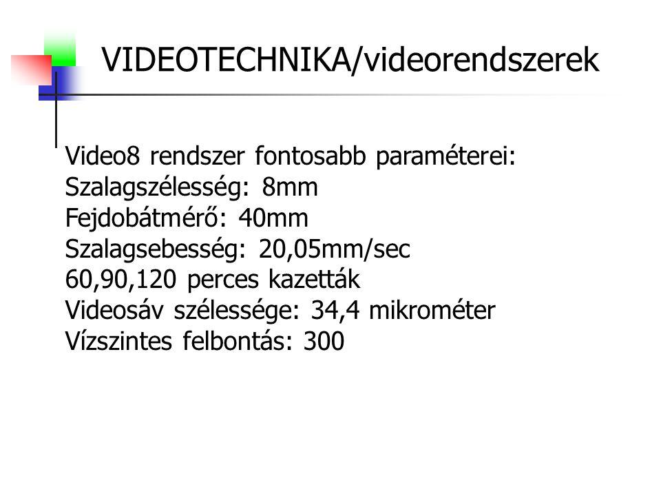 VIDEOTECHNIKA/videorendszerek Video8 rendszer fontosabb paraméterei: Szalagszélesség: 8mm Fejdobátmérő: 40mm Szalagsebesség: 20,05mm/sec 60,90,120 perces kazetták Videosáv szélessége: 34,4 mikrométer Vízszintes felbontás: 300