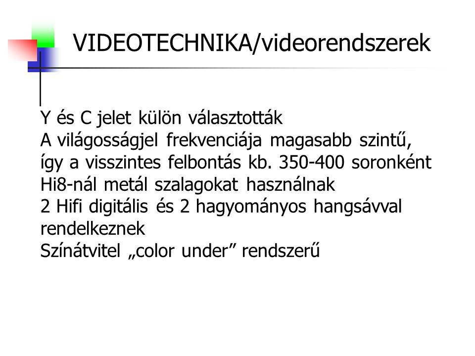 VIDEOTECHNIKA/videorendszerek Y és C jelet külön választották A világosságjel frekvenciája magasabb szintű, így a visszintes felbontás kb. 350-400 sor