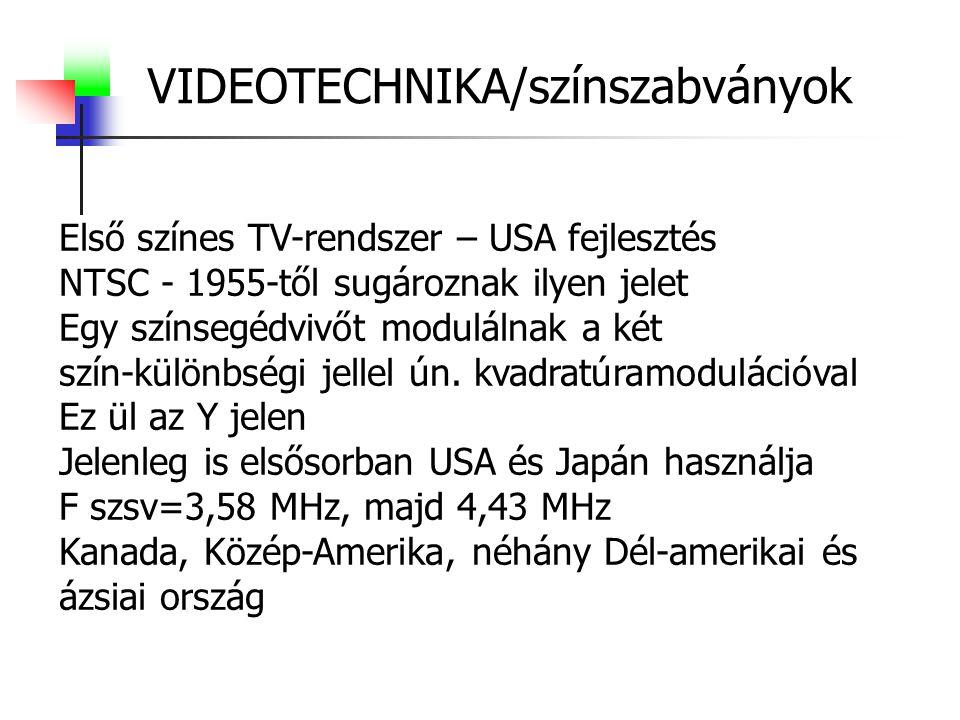 VIDEOTECHNIKA/színszabványok Első színes TV-rendszer – USA fejlesztés NTSC - 1955-től sugároznak ilyen jelet Egy színsegédvivőt modulálnak a két szín-különbségi jellel ún.