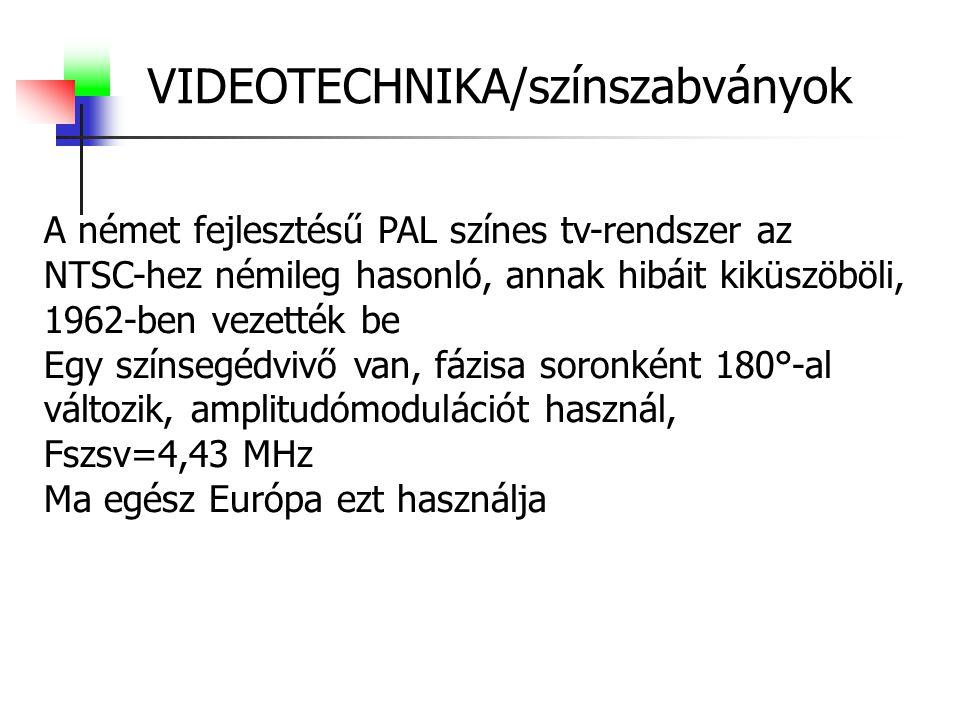 VIDEOTECHNIKA/színszabványok A német fejlesztésű PAL színes tv-rendszer az NTSC-hez némileg hasonló, annak hibáit kiküszöböli, 1962-ben vezették be Egy színsegédvivő van, fázisa soronként 180°-al változik, amplitudómodulációt használ, Fszsv=4,43 MHz Ma egész Európa ezt használja