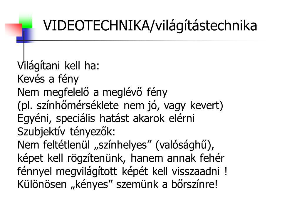 VIDEOTECHNIKA/világítástechnika Világítani kell ha: Kevés a fény Nem megfelelő a meglévő fény (pl.