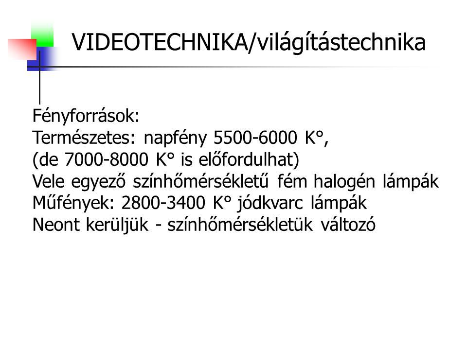 VIDEOTECHNIKA/világítástechnika Fényforrások: Természetes: napfény 5500-6000 K°, (de 7000-8000 K° is előfordulhat) Vele egyező színhőmérsékletű fém ha