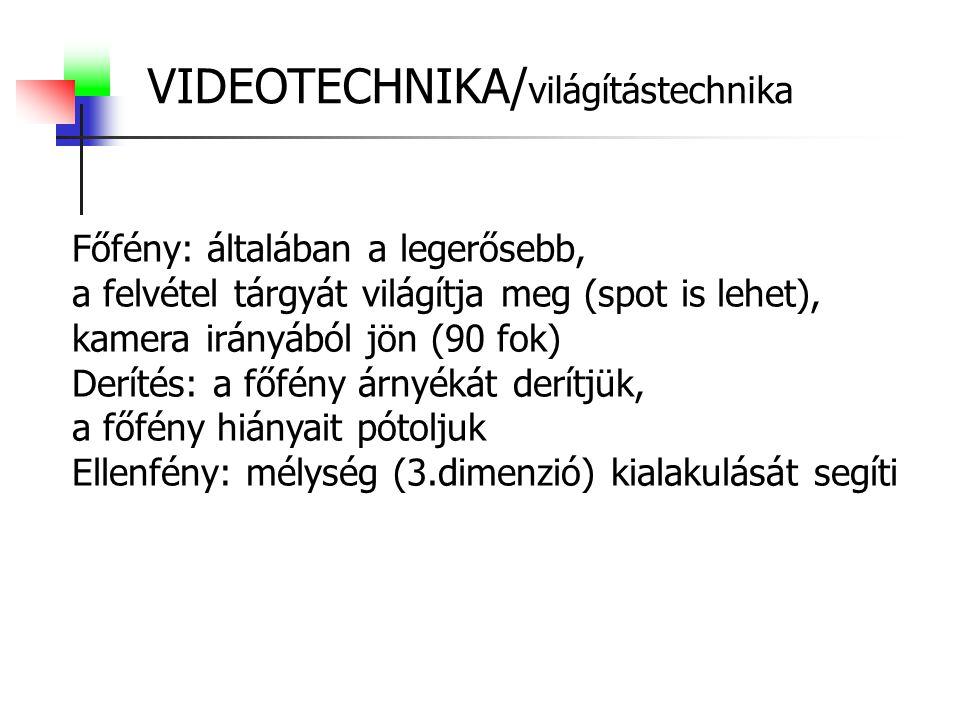VIDEOTECHNIKA/ világítástechnika Főfény: általában a legerősebb, a felvétel tárgyát világítja meg (spot is lehet), kamera irányából jön (90 fok) Derít