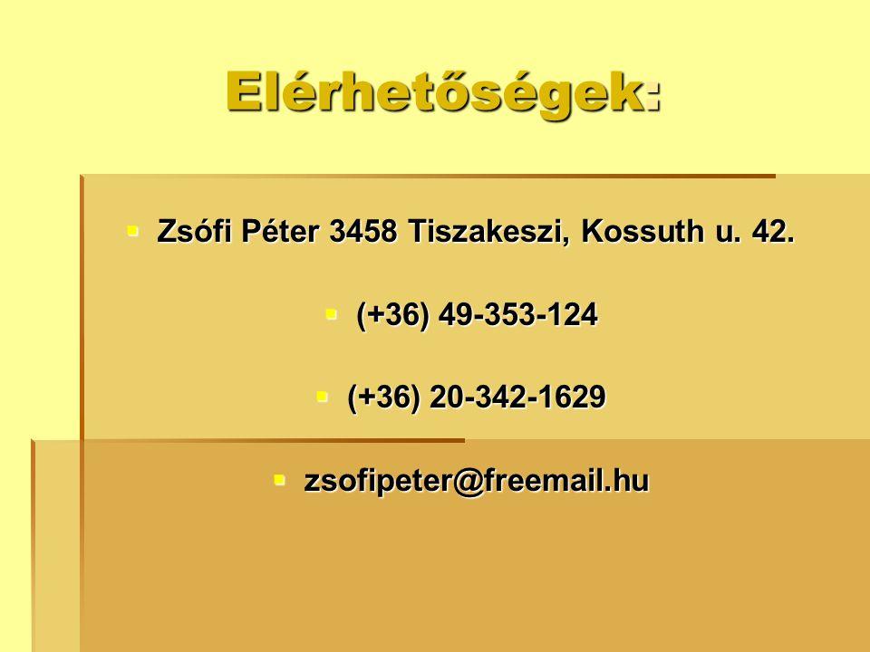 Elérhetőségek:  Zsófi Péter 3458 Tiszakeszi, Kossuth u. 42.  (+36) 49-353-124  (+36) 20-342-1629  zsofipeter@freemail.hu
