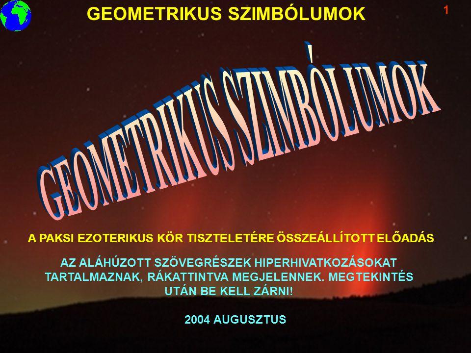 GEOMETRIKUS SZIMBÓLUMOK 1 A PAKSI EZOTERIKUS KÖR TISZTELETÉRE ÖSSZEÁLLÍTOTT ELŐADÁS 2004 AUGUSZTUS AZ ALÁHÚZOTT SZÖVEGRÉSZEK HIPERHIVATKOZÁSOKAT TARTA