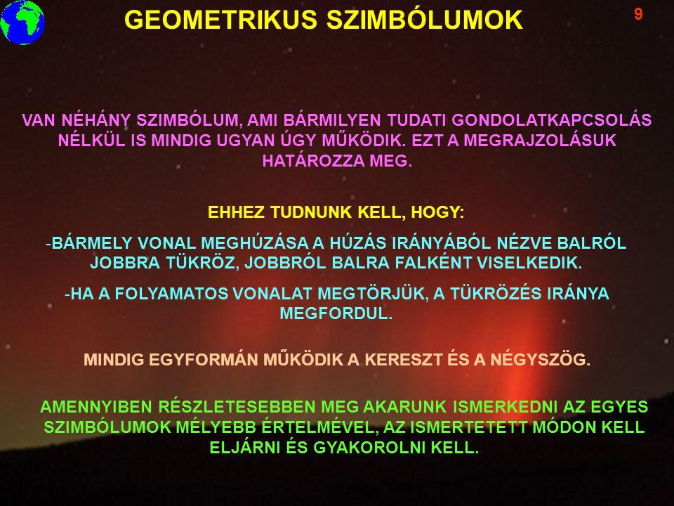 GEOMETRIKUS SZIMBÓLUMOK 9 VAN NÉHÁNY SZIMBÓLUM, AMI BÁRMILYEN TUDATI GONDOLATKAPCSOLÁS NÉLKÜL IS MINDIG UGYAN ÚGY MŰKÖDIK. EZT A MEGRAJZOLÁSUK HATÁROZ